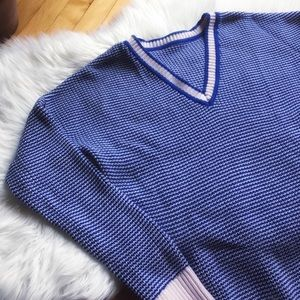 Pink and blue V neck sweater